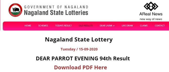 Nagaland State Lottery DEAR PARROT EVENING 94th Result