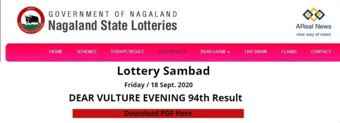 Nagaland State Lottery DEAR VULTURE EVENING 94th Result