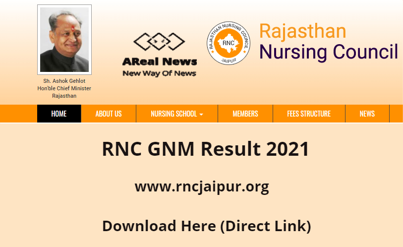 Rnc Gnm Result 2021 Www Rncjaipur Org Part 1st 2nd 3rd Year