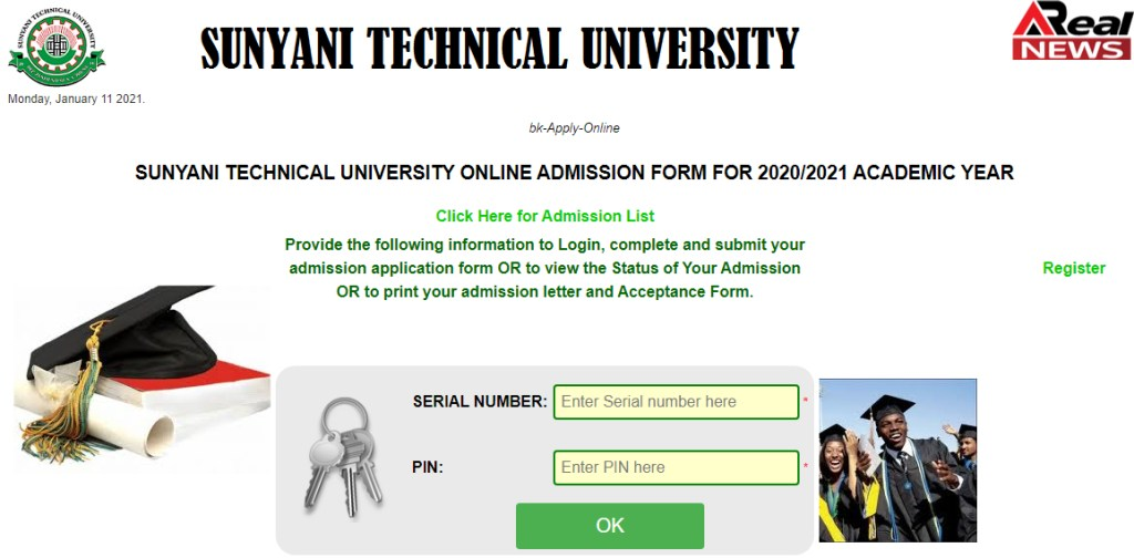 Sunyani Technical University Admission portal 2021
