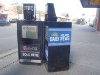 There was some irony in this news box being set up across the street from the old Kamloops Daily News building.
