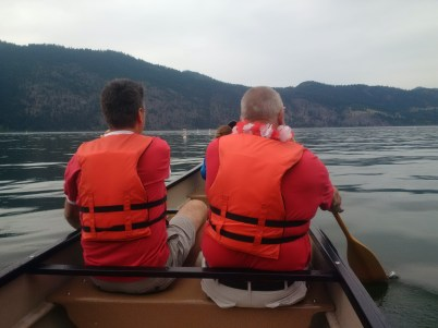 Enjoying short canoe trip with MLA Todd Stone (left), Chase Mayor Rick Berrigan and others.