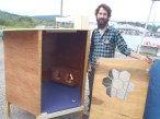 Entrepreneur Aras Maghaddam with his urban chicken coop, which he hopes to market throughout the TNRD.