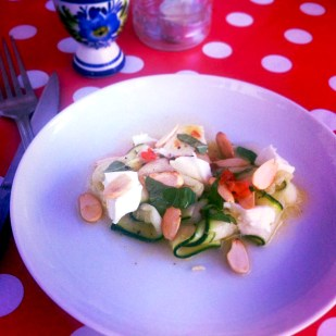 courgette salad with mozzarella and basil