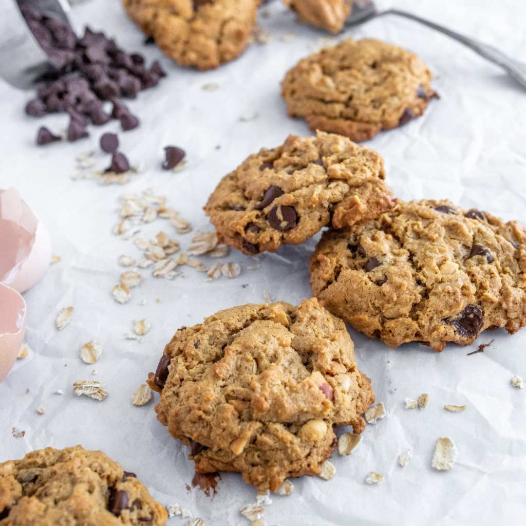 baked flourless peanut butter and chocolate chip cookie