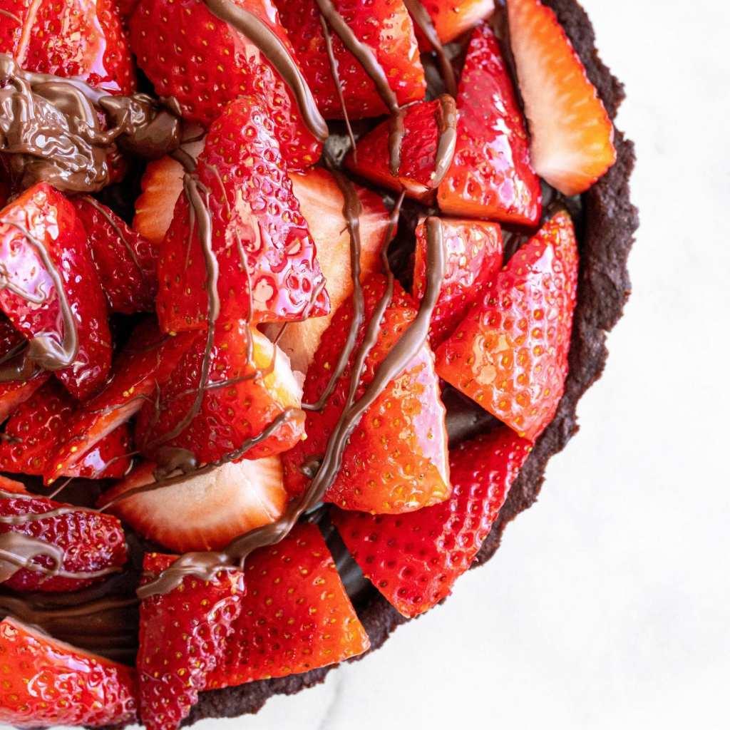 strawberry topped dark chocolate tart