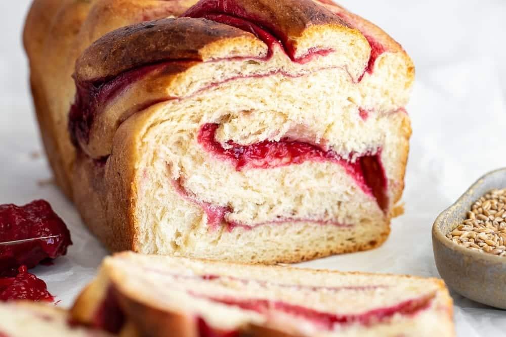 whole grain raspberry swirl loaf