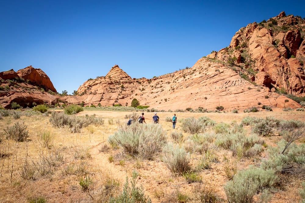 family walking in vermillion cliffs wilderness area