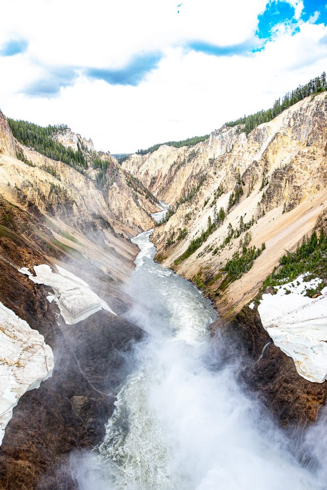 canyon with river in it at yellowstone national park