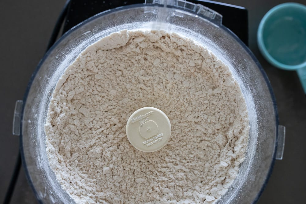 flour in Cuisinart food processor for pie dough
