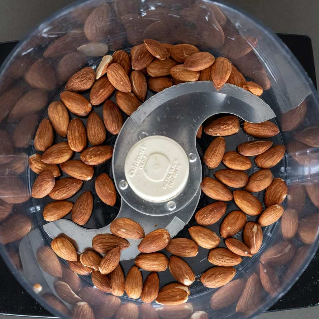 toasted almonds in food processor