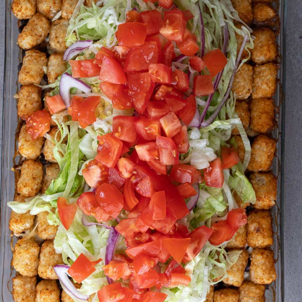 tomatoes on tater tot casserole
