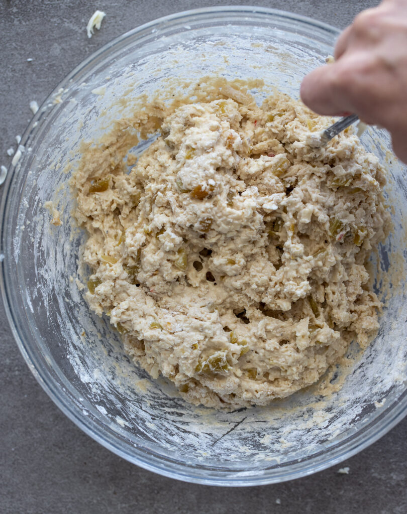 Whole Wheat biscuit dough in glass bowl.