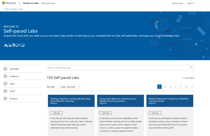 Microsoft Self-paced labs main page