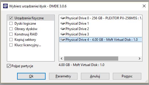 DMDE - wybór urządzenia do pracy, w tym przypadku karta pamięci pochodząca z Raspberry PI