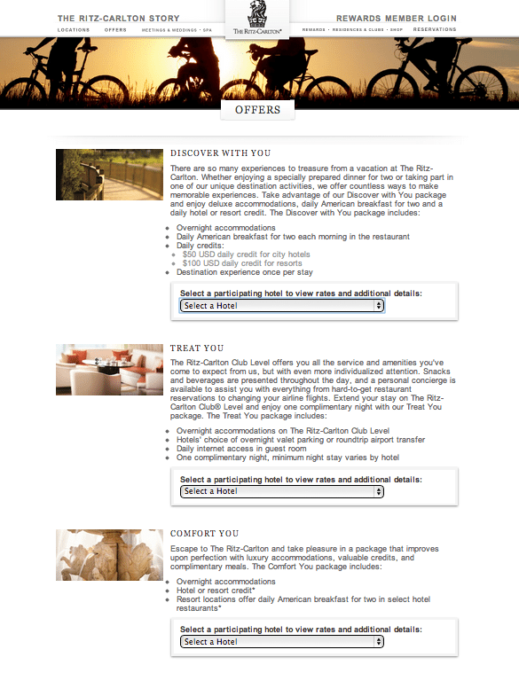 Ritz Carlton Offers Page
