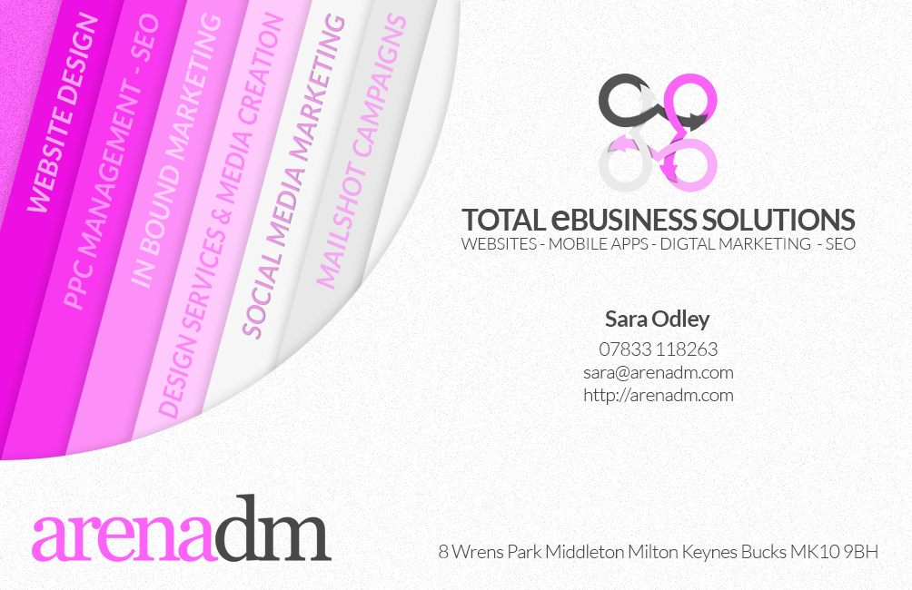 Arenadm sara business card proof 15 02 16 design 2 arena dm business card design services reheart Gallery