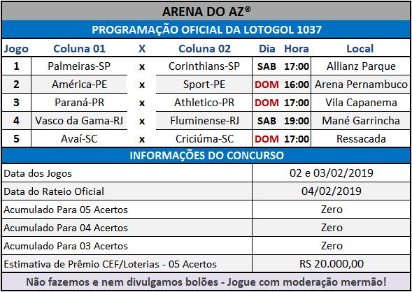 Loteca 838 / Lotogol 1037 - Programações com informações financeiras e a relação dos jogos dos concursos.