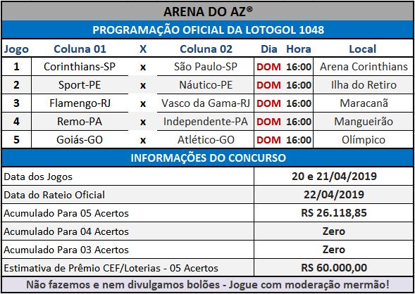 Loteca 848 / Lotogol 1047 - Programações Revisadas com informações financeiras e as relações dos jogos dos concursos.