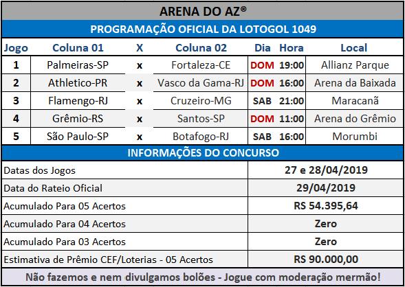 Loteca 850 / Lotogol 1049 - Programações Revisadas com informações financeiras e a relação dos jogos dos concursos.