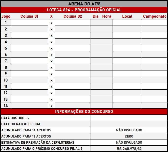 Loteca 894 - Programação Atualizada com informações financeiras e relação dos jogos do concurso.