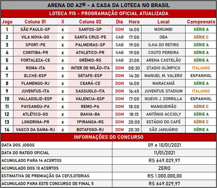 Loteca 915 - Programação Oficial Atualizada com informações financeiras e relação oficial dos jogos do concurso.