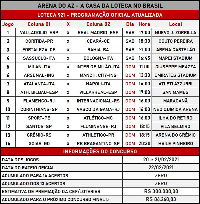 Loteca 921 - Programação Atualizada com informações financeiras, dias, horários e locais dos jogos. Mais uma exclusividade do AAZ, o Maior e Melhor Portal de Loteca do Brasil.