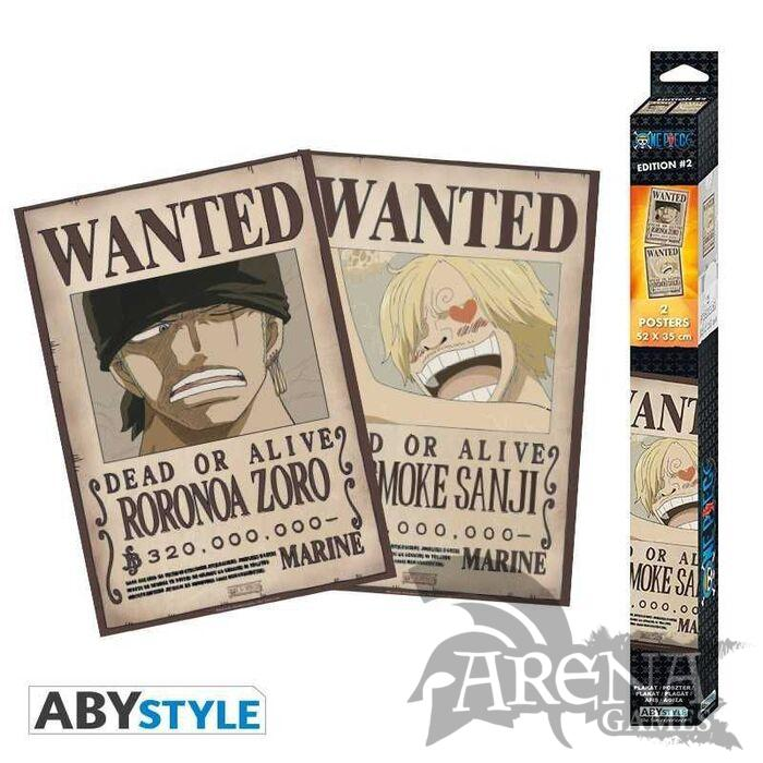 Set 2x Poster 52x38 – One Piece – Wanted Zoro & Sanji