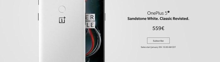 OnePlus 5T Sandstone White lansat