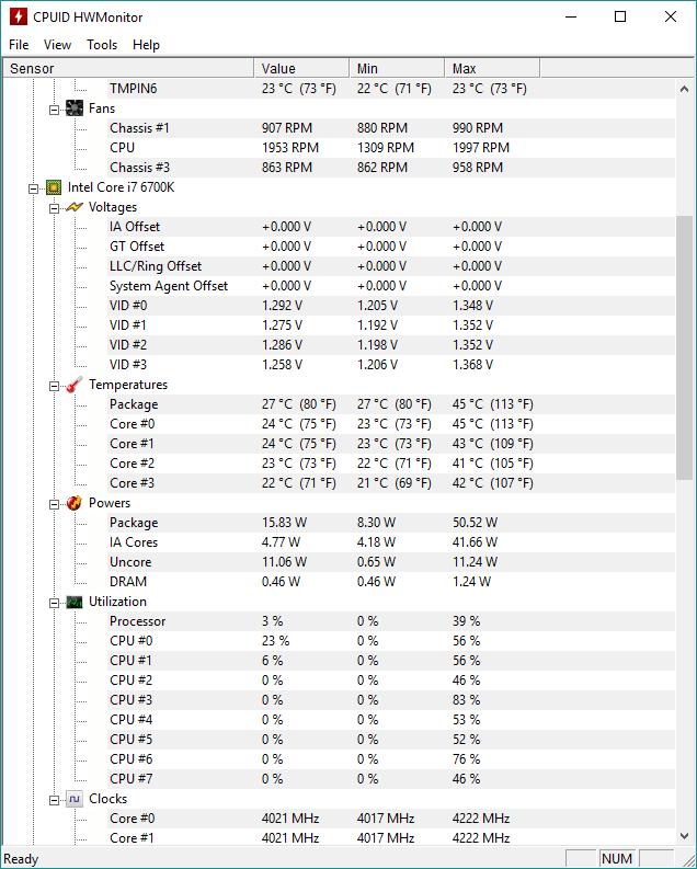 Intel Core i7-6700K @ 4.0 Ghz, 1.2V, idle – 27 °C (PWM)