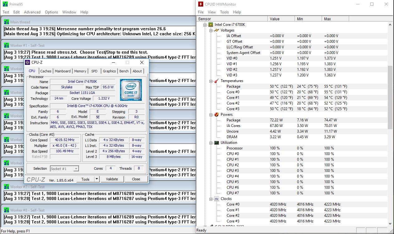 Intel Core i7-6700K @ 4.0 Ghz, 1.17V, full load – 50 °C
