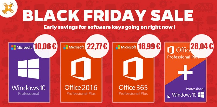 Black Friday cu licente Windows 10 si Office 2016 Pro