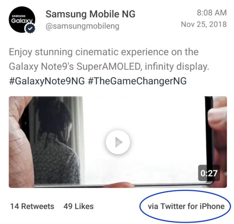 iPhone XS Max folosit pentru a promova Note 9
