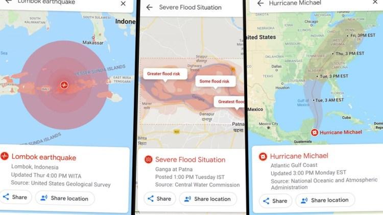 Google Maps afiseaza de acum si dezastrele naturale