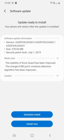 Samsung A20e_Software update1