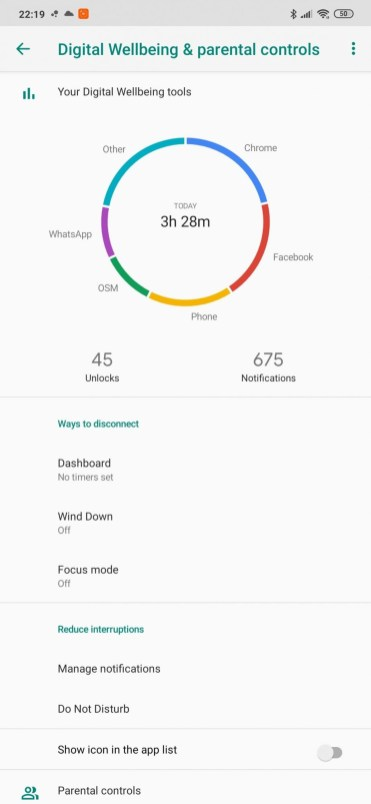 Redmi Note 8PRO setari digital wellbeing