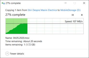 Viteza scriere HDD extern