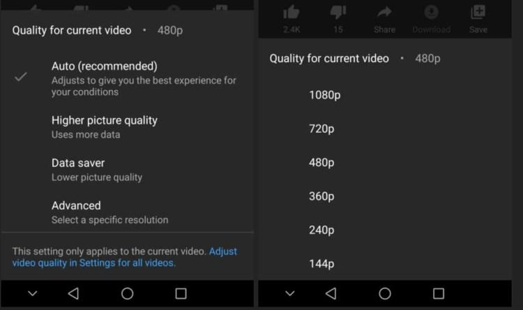 Youtube ofera posibilitatea de a seta o calitate video standard