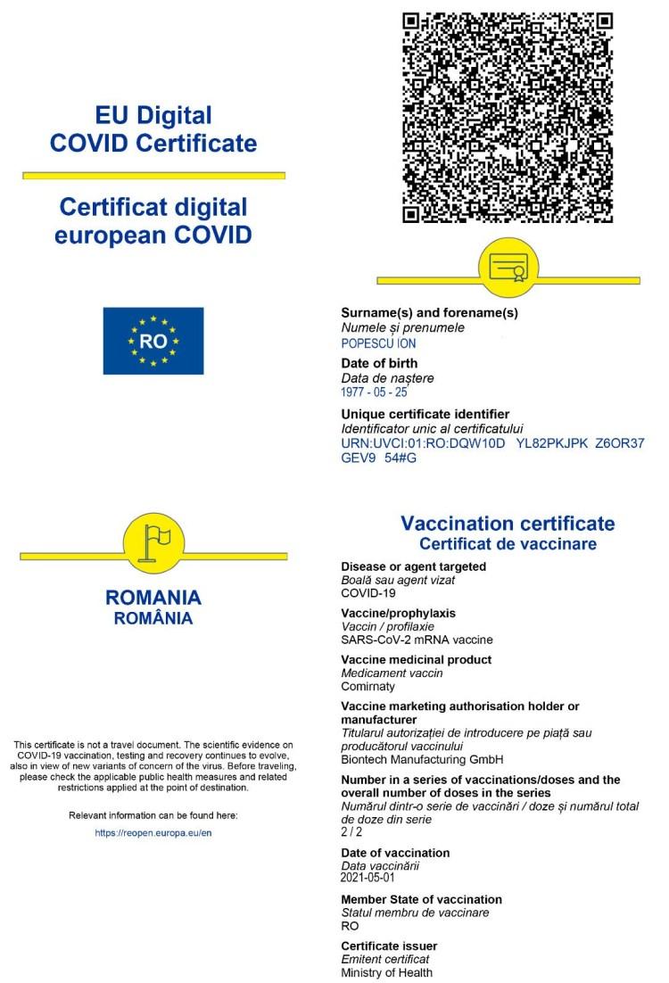 Platforma pentru eliberarea certificatelor digitale UE privind Covid va fi operațională de mâine în România