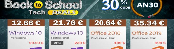 Oferte bune in campania Back To School - Windows 10 la 12 euro, Office 2019 la 35 euro si multe altele