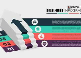 3d Business Infographics Staircase Diagram Template
