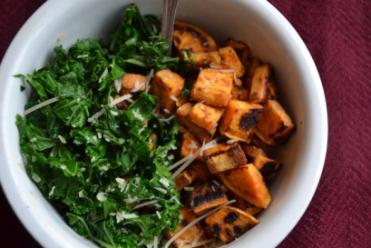 Agave Sauteed Kale with Roasted Sweet Potatoes