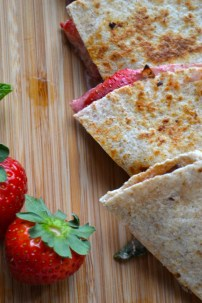 Strawberry and Goat Cheese Quesadillas with Mint and Caramelized Onion