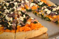 Sweet Potato Pizza with Caramelized Onion, Goat Cheese and Kale