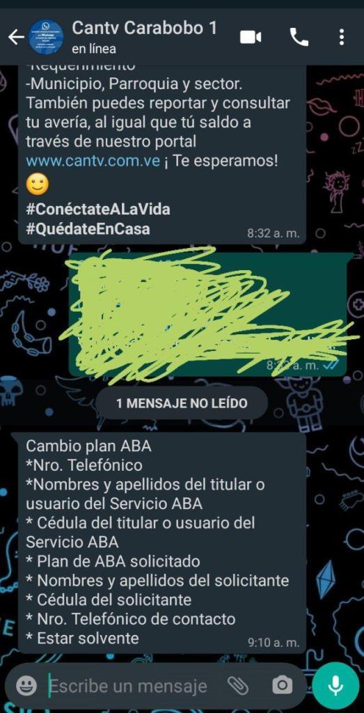 whatsapp cantv cambio de plan aba