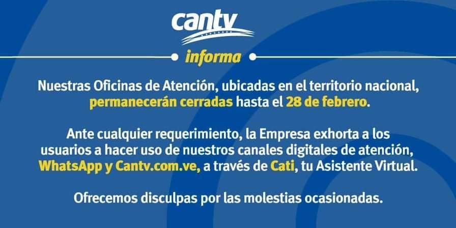 Cantv oficinas cerradas hasta el 28 de febrero