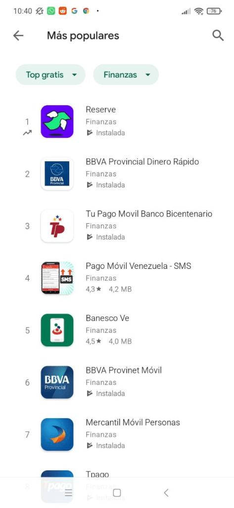Reserve aplicación de finanzas más descarga en Venezuela
