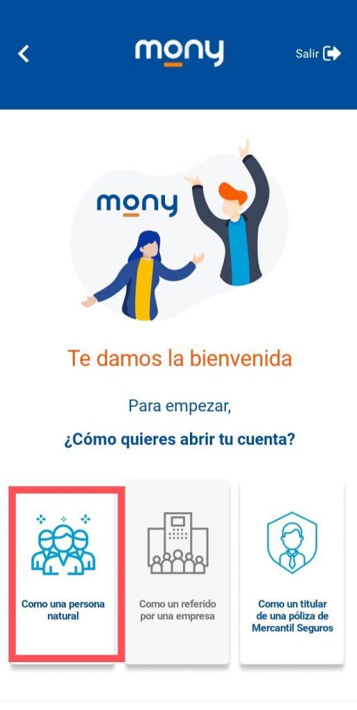 Persona natural  Abrir cuenta Mony mercantil Panamá desde Venezuela