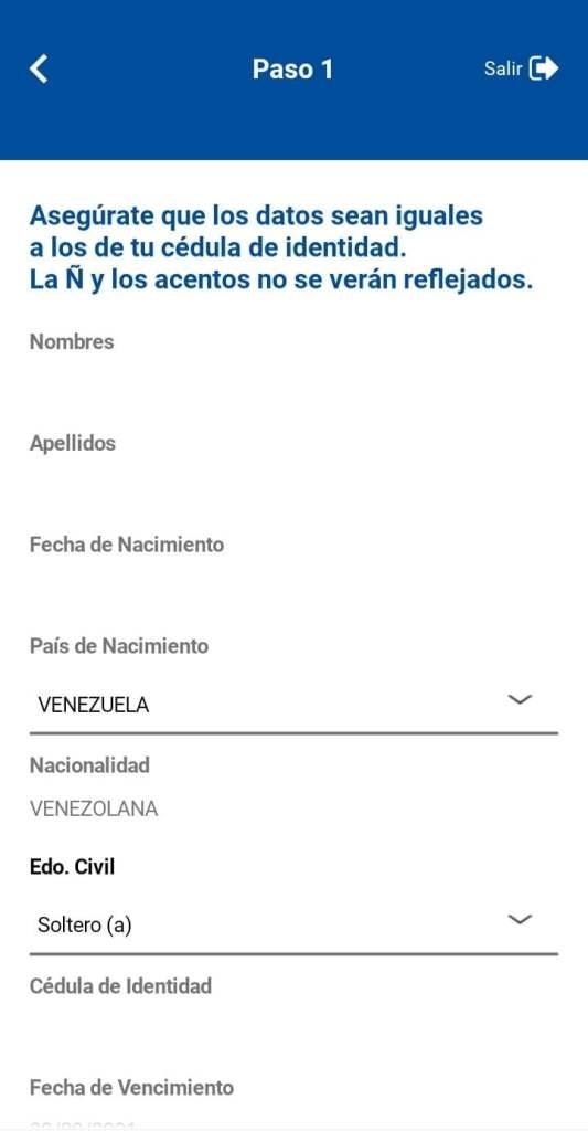 Datos personales para Abrir cuenta Mony mercantil Panamá desde Venezuela