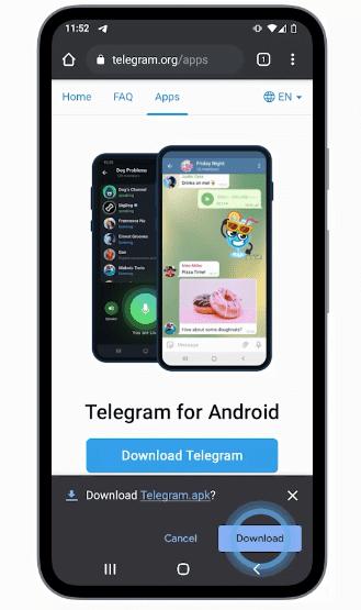 Descarga directa desde la web de telegram